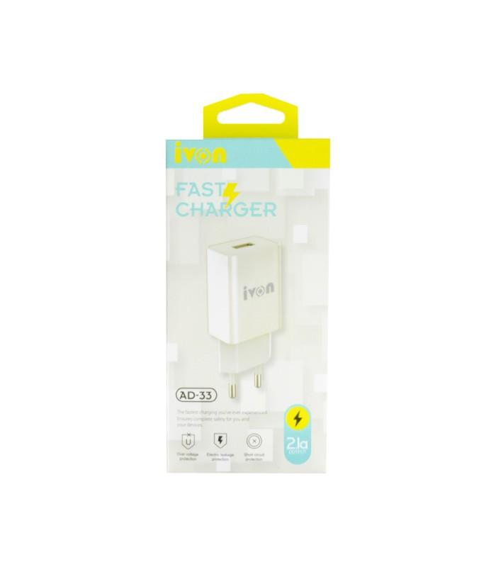 Chargeur Secteur Fast IVON+Cable usb CE 2,1A