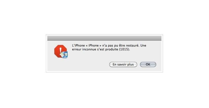 Réparation erreur 1015 iTunes iPhone 3G/3GS 4/4s/5/6/6+